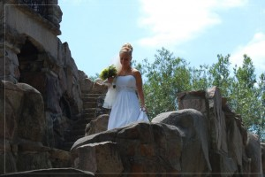 A bride walking down to her ceremony at Boldt Castle in Alexandria Bay, Thousand Islands, NY.